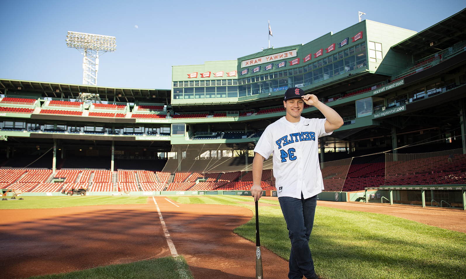 Bentley student Ryan Berardino at Fenway Park
